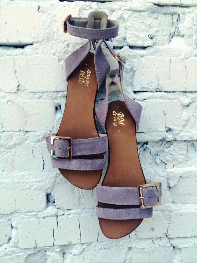 Женские сандалии из натуральной замши лавандового цвета JUICE LAVENDER SUEDE