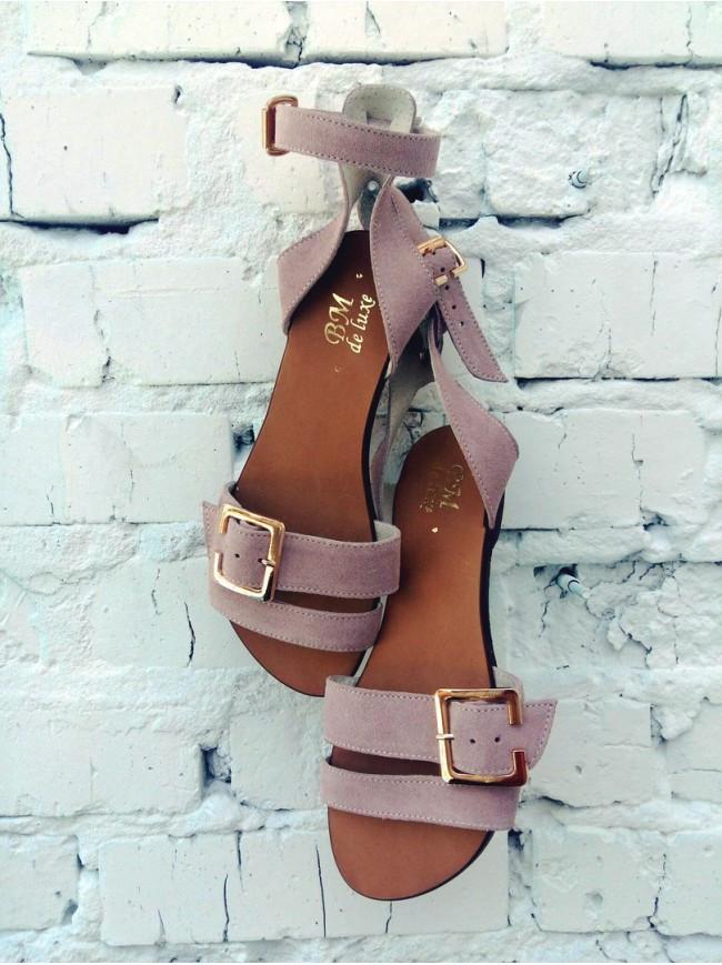 Женские сандалии из натуральной замши темно-бежевого цвета JUICE POWDER SUEDE