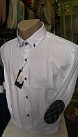 Рубашка мужская белая для торжеств и выпускного с длинным рукавом приталка DERGI с локтями