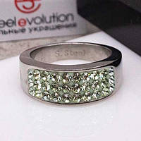 Женское кольцо Swarovski с кристаллами светло-зеленого цвета 15-20 р 102672