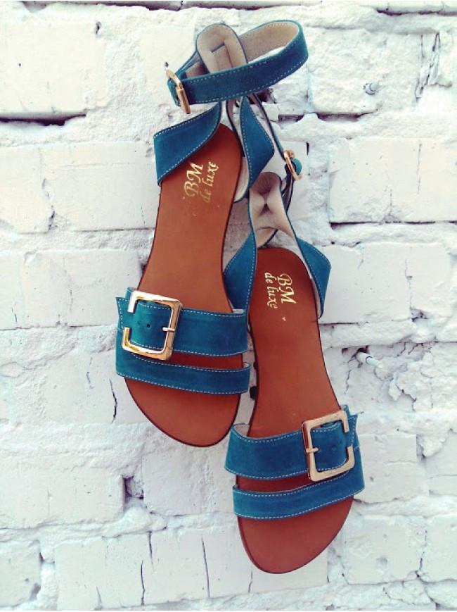 Женские сандалии из натуральной замши синего цвета JUICE SEA WAVE SUEDE