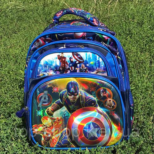 Рюкзак школьный с ортопедической спинкой 3D Капитан Америка