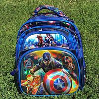 Рюкзак школьный с ортопедической спинкой 3D Капитан Америка, фото 1
