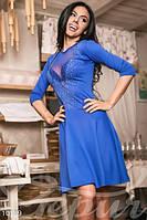 Женское вечернее короткое платье с глубоким вырезом декольте и декорированными камнями французский трикотаж , фото 1