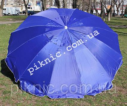 Торговый зонт 2,5м уличный с клапаном 12 спиц круглый Зонт для торговли на улице сада Синий 351, фото 2