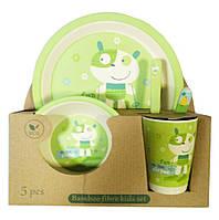 Набір дитячої бамбуковій посуду Eco Bamboo 5 предметів MH-2772 зелений, фото 1