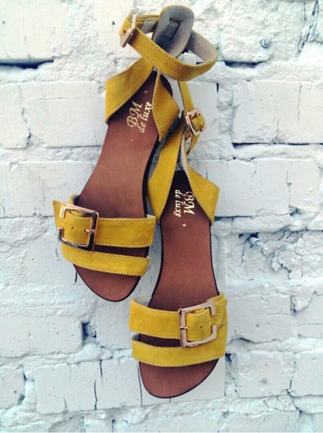 Женские сандалии из натуральной замши желтого цвета JUICE SHORE SUEDE