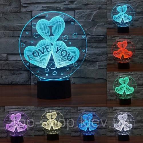 "3D ночник ""Сердечка"" 7 цветов свечения"