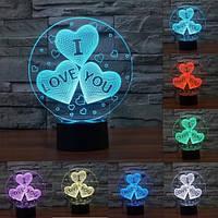"""3D ночник """"Сердечка"""" 7 цветов свечения, фото 1"""
