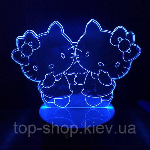 """3D ночник """"Китти"""" 7 цветов свечения"""