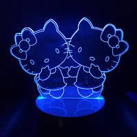 """3D ночник """"Китти"""" 7 цветов свечения, фото 1"""