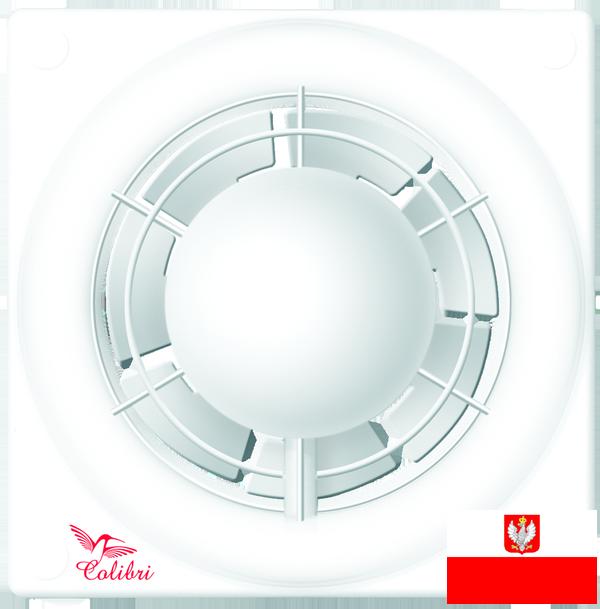 Внешний вид недорогого вентилятора с датчиком влажности и таймером для настенного и потолочного монтажа Колибри Флайт 100 (диаметр патрубка воздуховода ― 100 мм, высокая производительность, малошумный, реле влажности, реле времени) ― купить по низкой цене с доставкой по Украине в интернет-магазине систем вентиляции ventsmart.com.ua