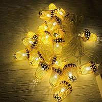 Новогодняя гирлянда золотые жёлуди внутренняя 20 led, фото 1