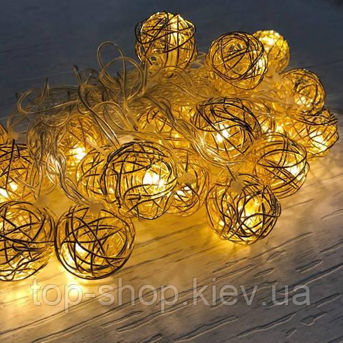 Новогодняя гирлянда золотые шарики внутренняя 20 led