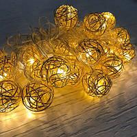 Новогодняя гирлянда золотые шарики внутренняя 20 led, фото 1
