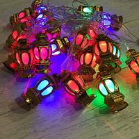 Гирлянда новогодняя золотые фонари внутренняя 20 led, фото 1