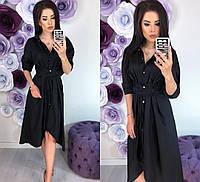 Модное женское удлинённое платье с поясом 42 - 48 рр новинка