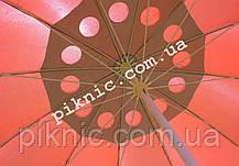 Зонт торговый 2,8м с клапаном 12 спиц круглый. Усиленный для торговли на улице, садовый Красный!, фото 3