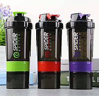 Шейкер 2-х камерный для спортивного питания Legend Spider Bottle 500 мл + 100 мл