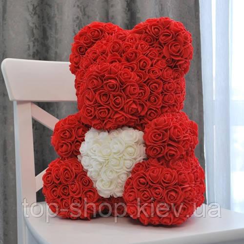 Мишка из роз с сердцем Bear Flowers 40 см с коробкой