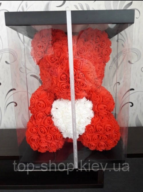 Мишка из роз с сердцем Bear Flowers 40 см с коробкой белый