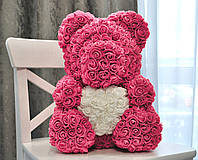 Мишка из роз с сердцем Bear Flowers 40 см с коробкой розовый