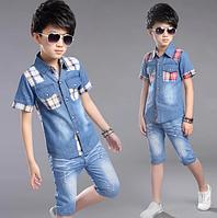 Летний комплект одежды для мальчиков, рубашка + джинсовые шорты, комплект детской одежды из 2 предметов
