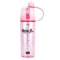 Спортивная бутылка для воды с распылителем New. B 600 ml Розовый