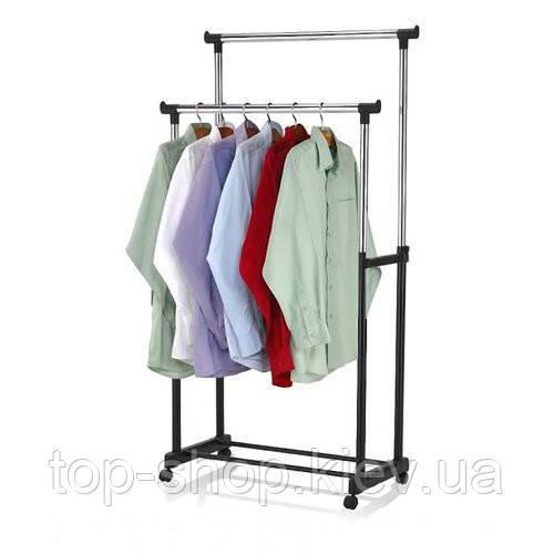 Двойная телескопическая вешалка стойка для одежды напольная Double Pole Clother Hose (30 кг)