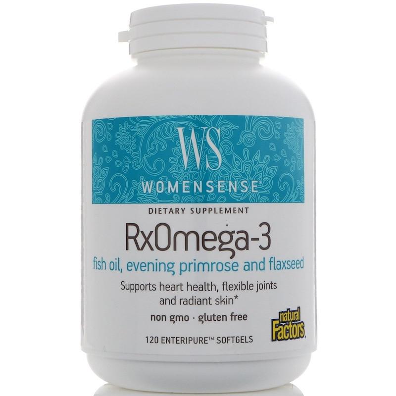 Natural Factors, WomenSense, RxOmega-3, 120 таблеток Enteripure.