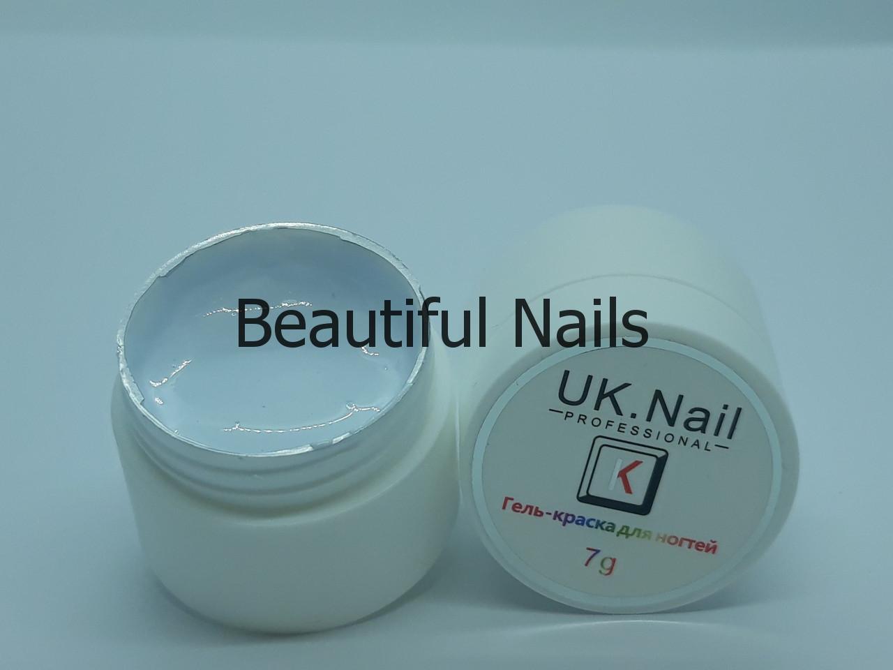 Гель-краска для ногтей UK.Nail №01 цвет белый.7 грамм