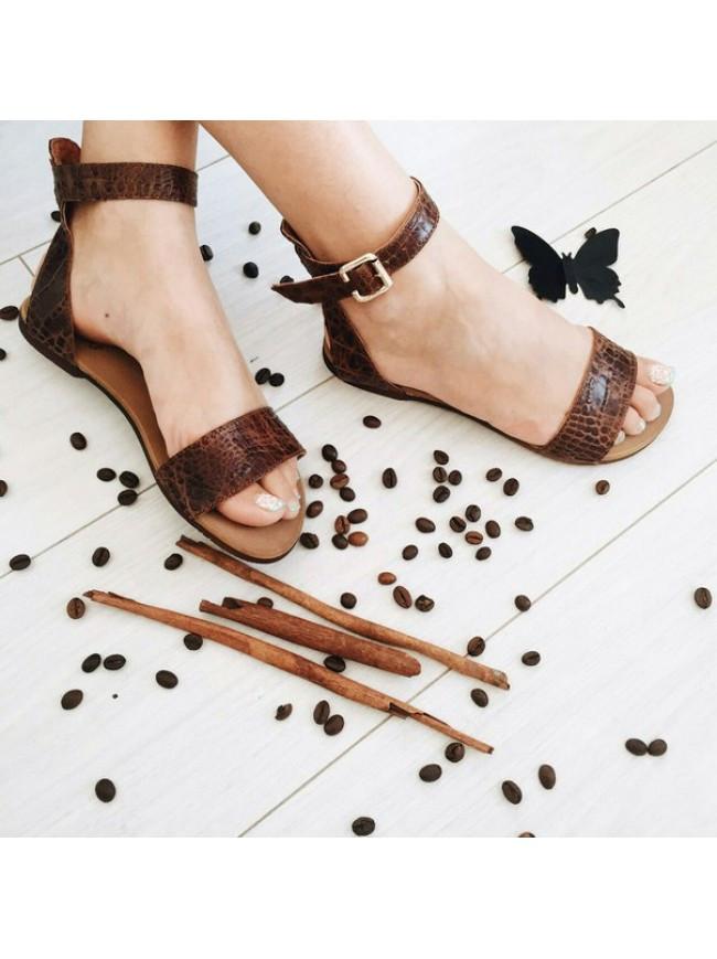 Женские сандалии из натуральной кожи коричневый цвета SIMPLE BROWN REPTILE