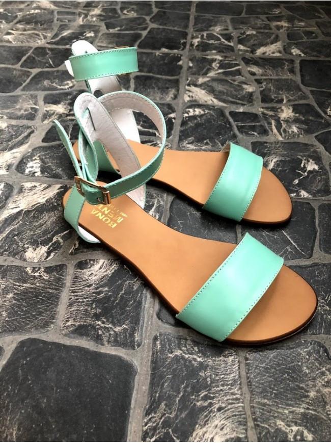 Женские сандалии из натуральной кожи голубого цвета SIMPLE MINT LEATHER