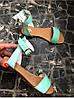 Женские сандалии из натуральной кожи голубого цвета SIMPLE MINT LEATHER, фото 2