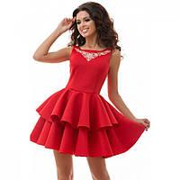 Нарядное платье женское красное из неопрена №7166
