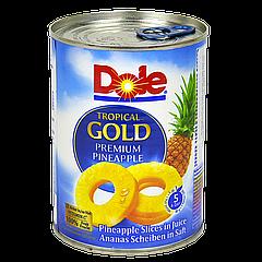 Кольца ананаса в собственном соку Dole, ж/б 567г, 6шт/ящ