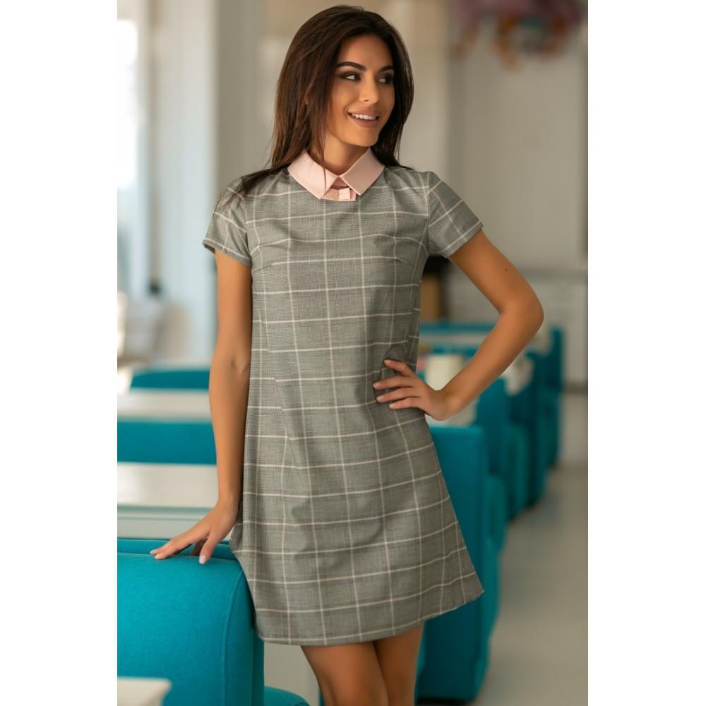 2733edcbf5c Офисное платье женское в клетку с воротником Малага 664 - Интернет-магазин