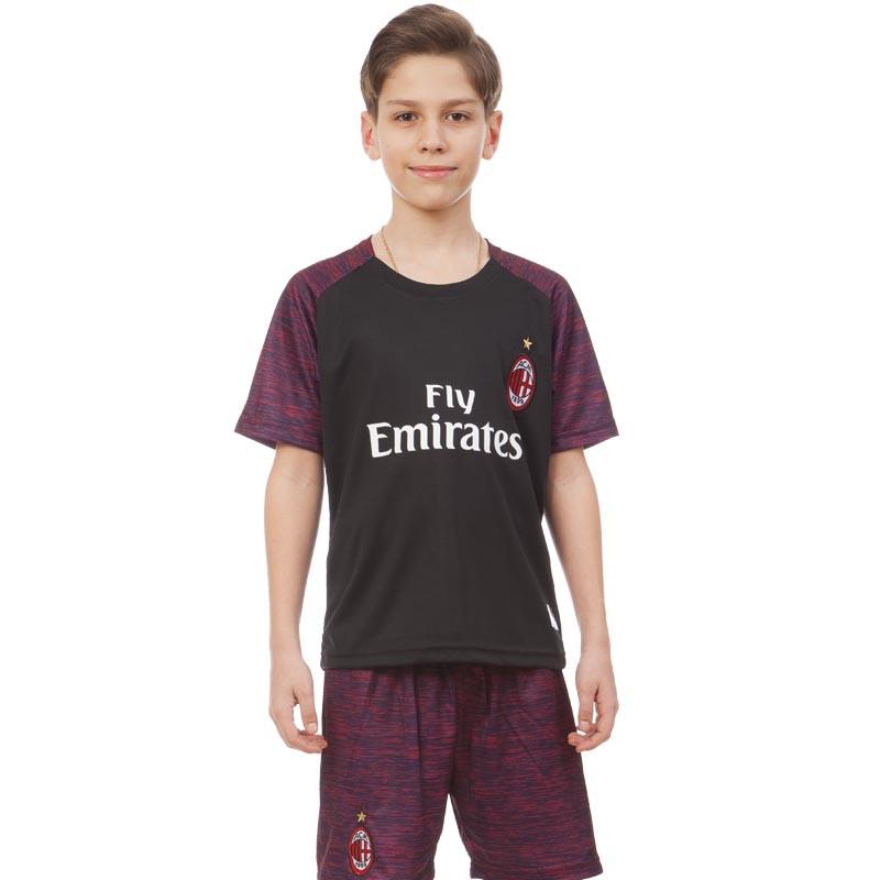 Форма футбольная детская AC MILAN резервная 2019 SP-Planeta (р-р 20-28-6-14лет, 110-155см,черный-красный)Z