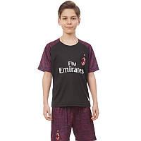 Форма футбольная детская AC MILAN резервная 2019 SP-Planeta (р-р 20-28-6-14лет, 110-155см,черный-красный)Z, фото 1