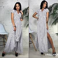 Летнее платье длинное в пол с коротким рукавом