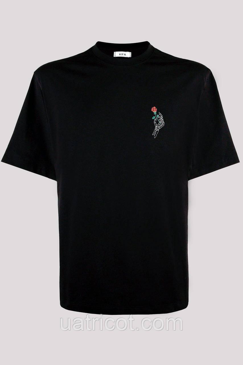Футболка мужская KIFA ФМХ-019/15 цветок черная