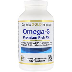 California Gold Nutrition, Омега-3, Рыбий жир премиум-класса, 240 желатиновых таблеток