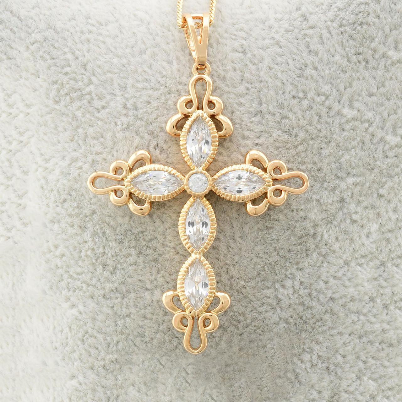 Крестик Xuping Jewelry ажурный, медицинское золото, позолота 18К. А/В 2985