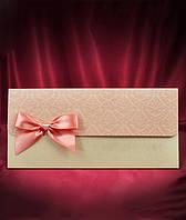 Пригласителье в розовых тонах с бантиком, оригинальные свадебные приглашения