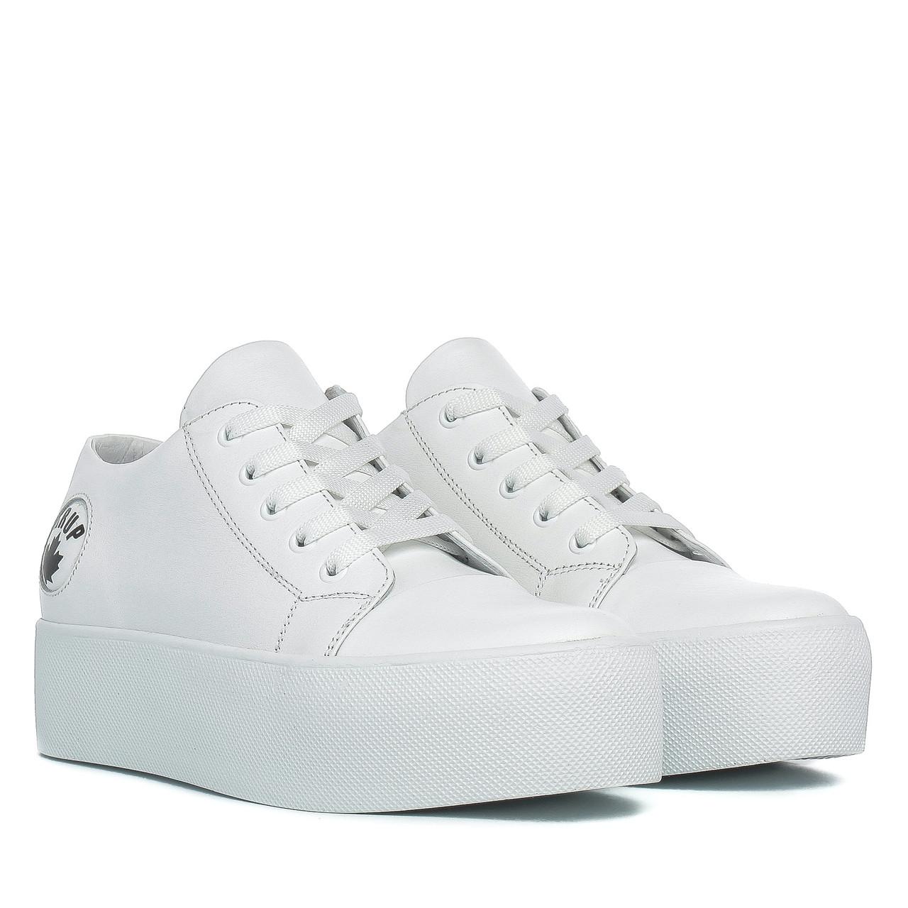 9e3857117 Купить Кеды женские DITAS (белые, кожаные, на высокой платформе ...