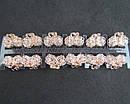 Крабики для волос L 2,5 см золотистый металл с белыми стразами 12 шт/уп., фото 2