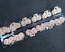 Крабики для волос L 2,5 см золотистый металл с белыми стразами 12 шт/уп., фото 4