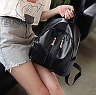 Рюкзак женский чёрный PU кожзам. с двумя вертикальными замочками 26 см - 29 см. - 12 см., фото 2