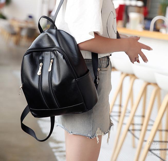 Рюкзак женский чёрный PU кожзам. с двумя вертикальными замочками 26 см - 29 см. - 12 см.