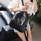 Рюкзак женский чёрный PU кожзам. с двумя вертикальными замочками 26 см - 29 см. - 12 см., фото 3